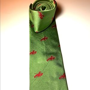 """RARE Green """"Will work for Lobster"""" tie by J. Crew"""